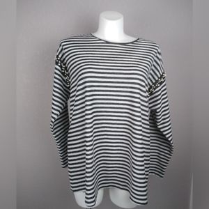 Lane Bryant Faux Pearl Accent Striped Sweater